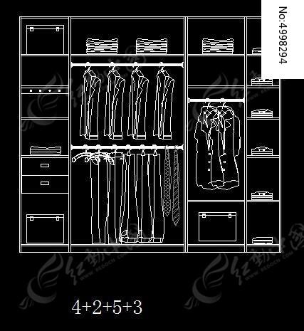 4+2+5+3型衣柜设计内部示意图cad素材下载_室内装修