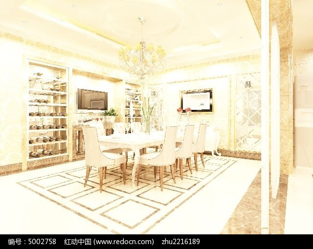 别墅欧式餐厅装修3d模型素材图片