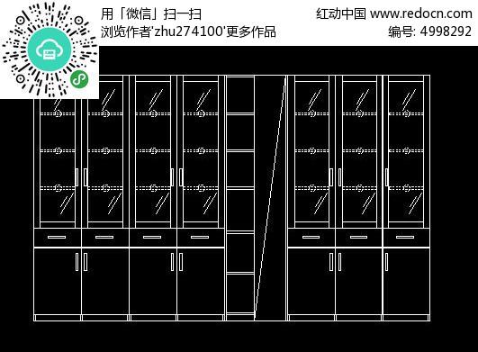 拐角L型书柜外立面设计图_CAD图纸图片素材