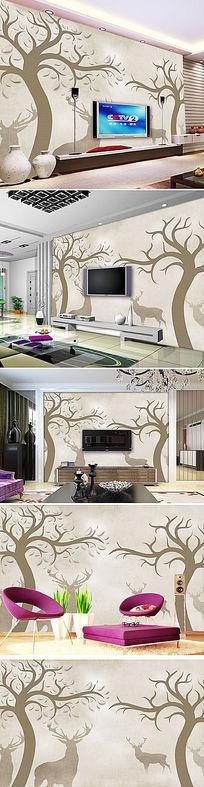 怀旧抽象手绘大树驯鹿麋鹿电视背景墙