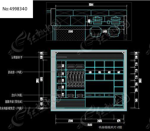 家装书房榻榻米组合柜内部结构尺寸图