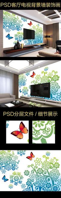 浪漫蝴蝶花纹电视背景墙设计