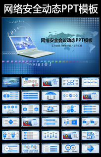 蓝色网络信息安全研讨会议动态PPT模板