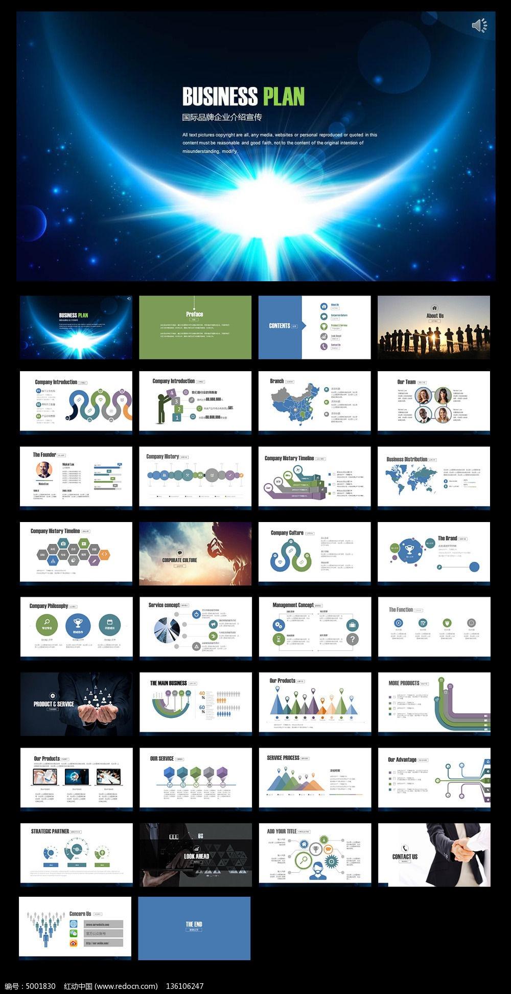 蓝色现代科技公司完整框架宣传介绍ppt模板