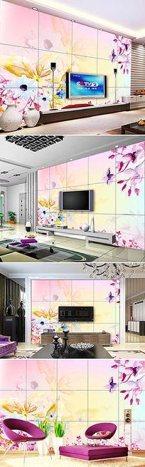 梦幻花纹花朵电视背景墙