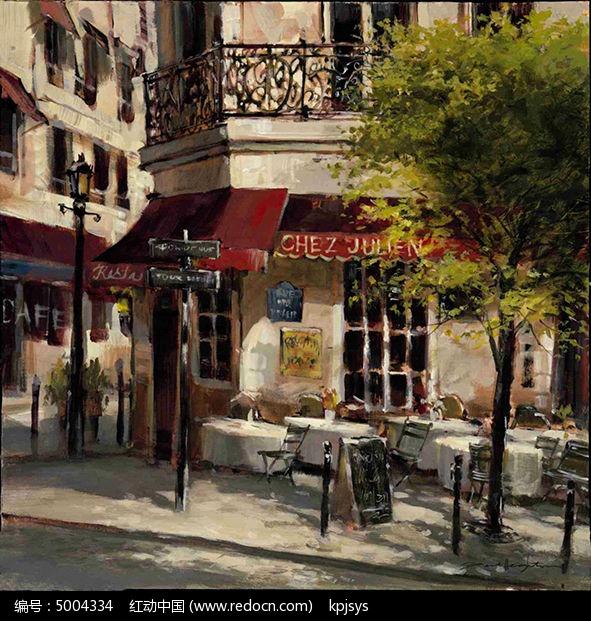 欧美复古做旧街道风格装饰画设计