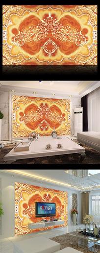 欧式壁画大理石花纹电视背景墙
