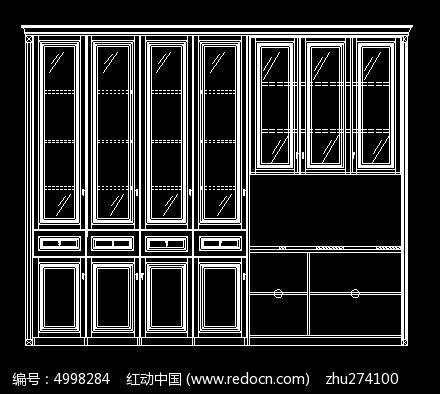 欧式风格书柜电脑桌组合柜立面图CAD素材下载 编号4998284 红动网