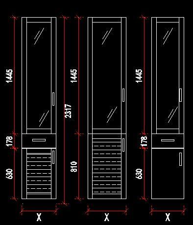 书柜玻璃门规格尺寸设计图CAD素材下载 编号4998308 红动网