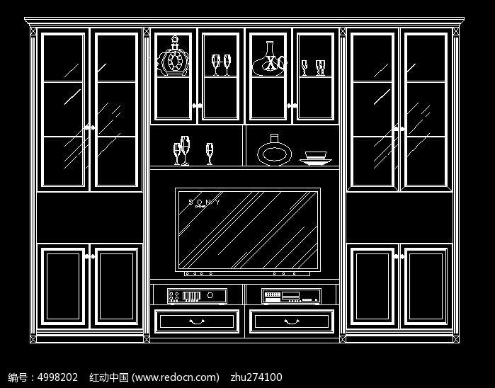 现代风格家装电视厅柜立面图