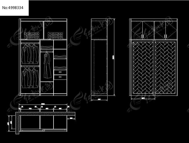 衣柜内部结构及推拉门立面设计图