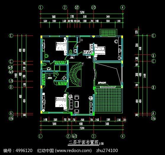 中空设计复式楼二层平面规划设计图图片
