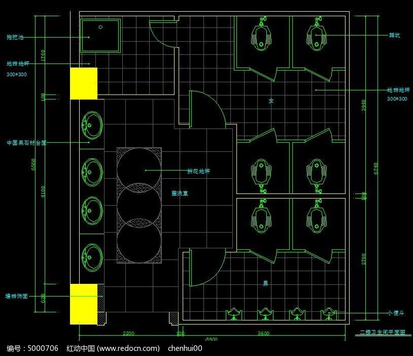 中式火锅店工程卫生间平面图6.2二楼枪图纸图片