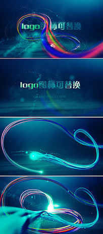 绚丽粒子光线缠绕文字logo标识展示ae模板