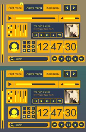 音乐播放器UI界面橙色蓝色对比色扁平化设计