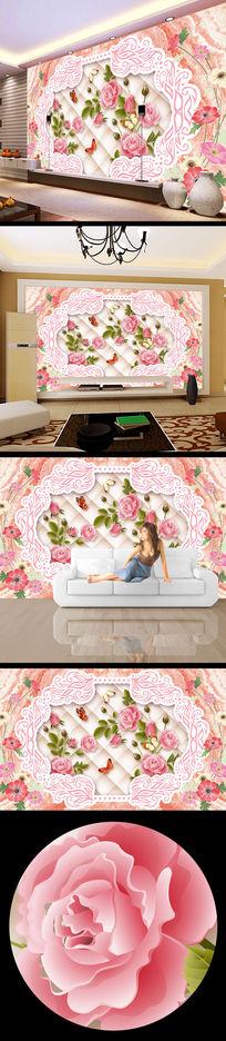 3d立体玫瑰花大理石电视背景墙