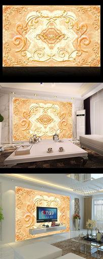 典雅金色花边瓷砖大理石电视背景墙