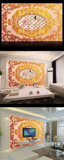 高贵金色花纹大理石电视背景墙