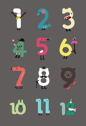 韩国可爱卡通创意数字