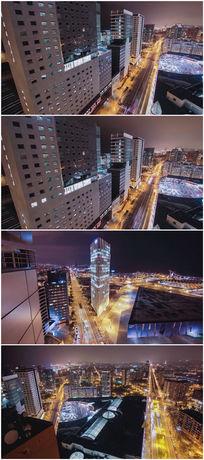 城市延时摄影震撼大气鸟瞰城市繁华视频素材