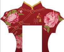 复古上海滩旗袍服饰牡丹花门头设计psd分层