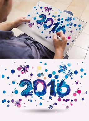 2016圣诞雪花水墨风艺术字体
