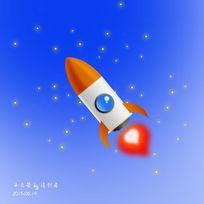 3d小火箭插画设计