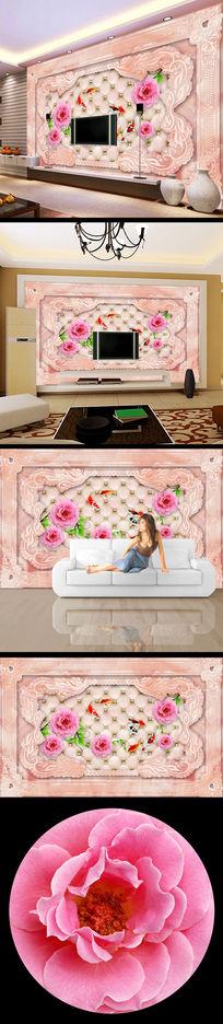 花朵鲜花3d大理石电视背景墙