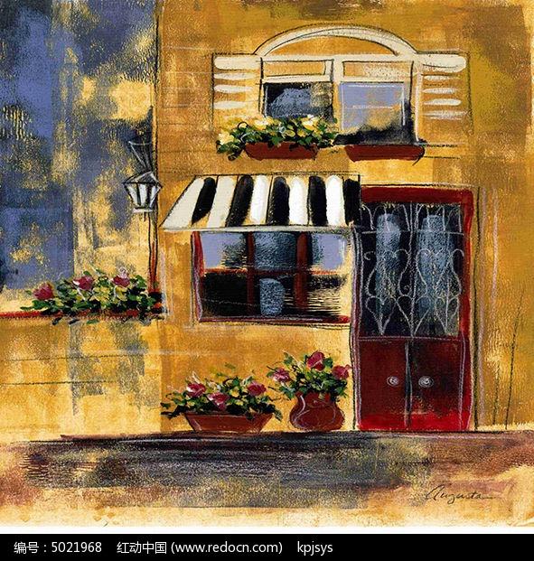 欧美复古街道风格装饰画设计