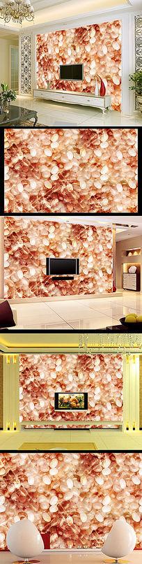 大理石鹅卵石玉石电视背景墙