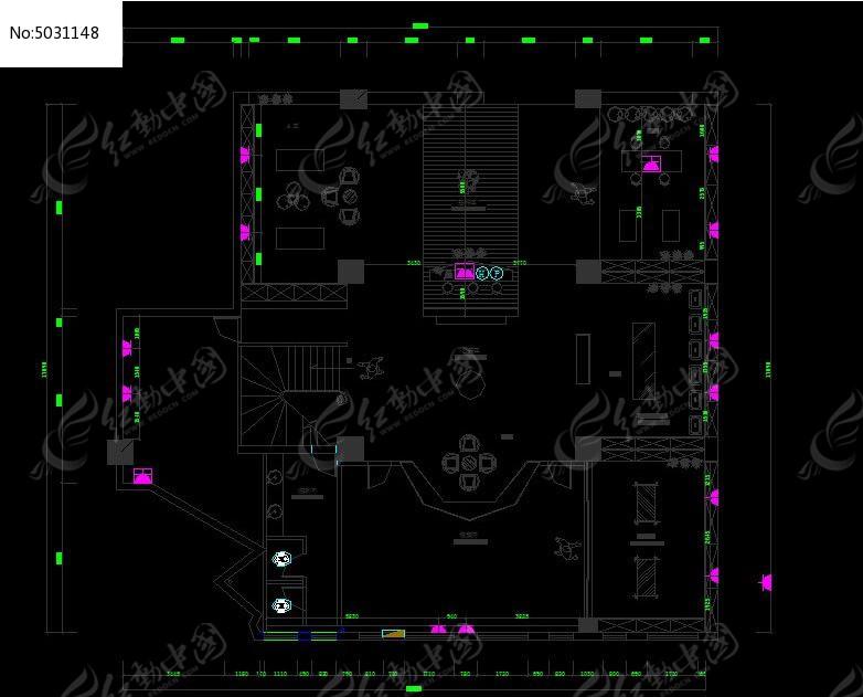 红酒酒庄一层插座设计图cad素材下载_室内装修设计图片