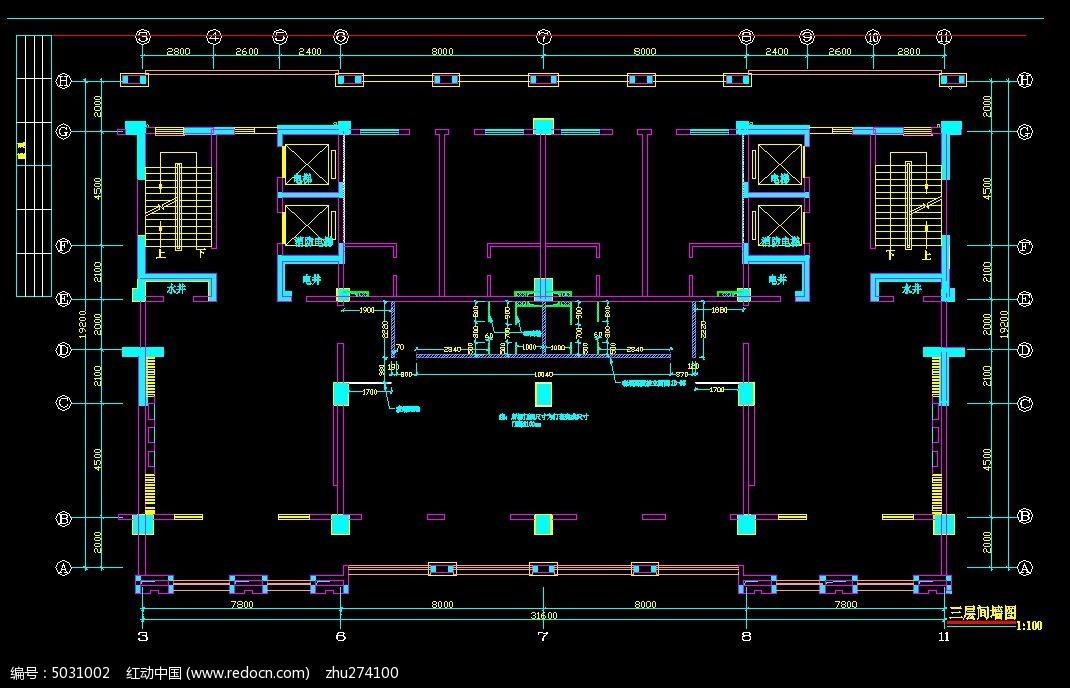 健身房间隔墙设计图_cad图纸图片素材