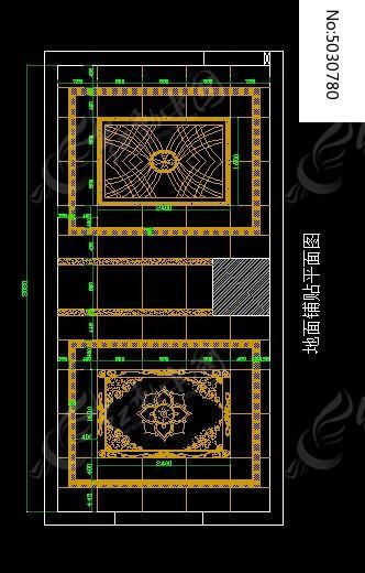 马赛克展厅地面铺贴示意图cad素材下载_室内装修设计