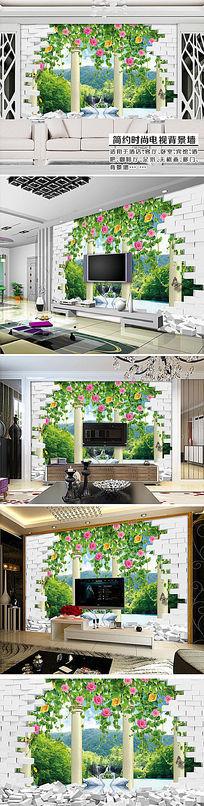 玫瑰蔷薇户外风景3D创意空间电视背景墙