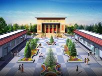 最新政府村委会国风建筑鸟瞰3dmax