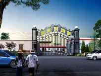 最新政府村委会铁艺栅栏大门简约建筑景观3dmax max