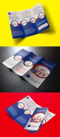 蓝色简洁宣传三折页设计