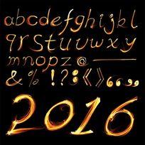 小写英文字母火焰字英文字体设计