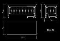 办公室书写桌三视图CAD图块