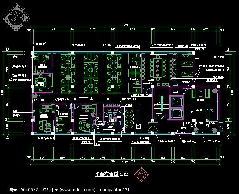 担保公司平面布置设计图cad素材下载