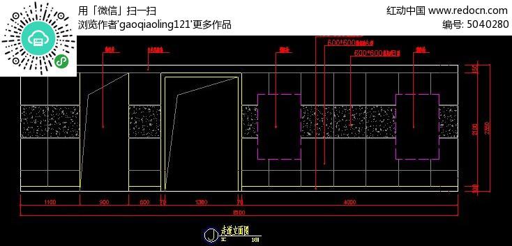 手工厅电梯图纸装修立面图_CAD过道图片素材墙面埃菲尔铁塔图纸图片