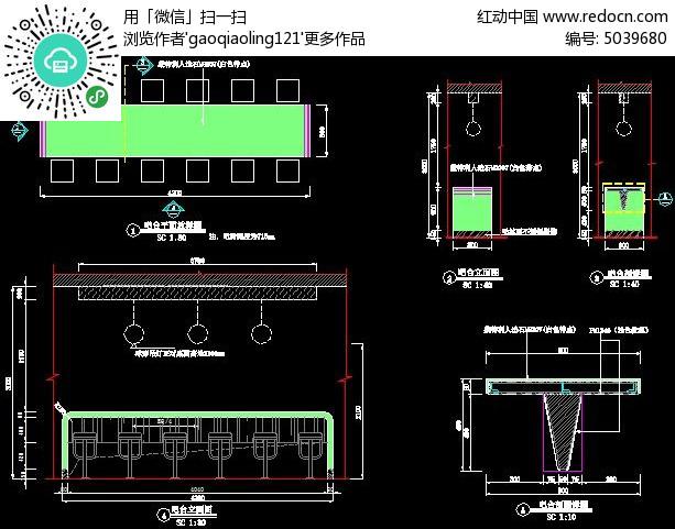 肯德基餐厅t型吧台三视图设计cad图纸