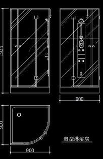 扇形玻璃沐浴房三视图CAD图块