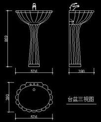 台盆三视图CAD图块