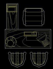 L型办公桌平面CAD图块 CAD