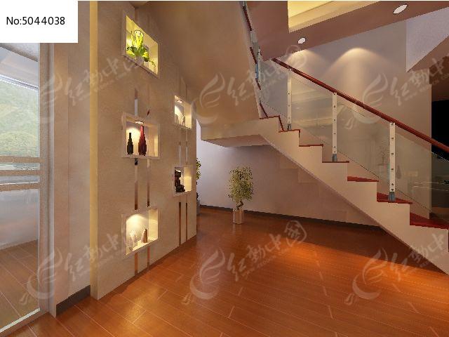 复式楼梯墙面装修设计3d模型素材