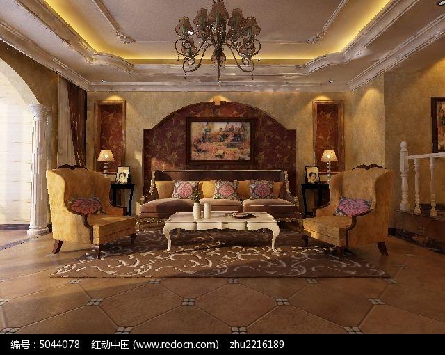 古典欧式客厅装修3d设计模型素材max