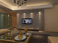 简单客厅电视背景墙装修设计3D模型