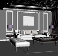 简欧客厅沙发背景墙效果3D模型max