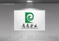 绿色雄鹰P字母logo设计 CDR